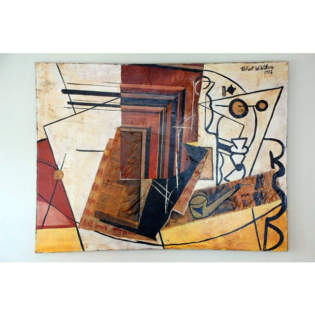 1970s Cubist Mixed Media Oil Painting by Robert Wilson For Sale - Image 5 of 5