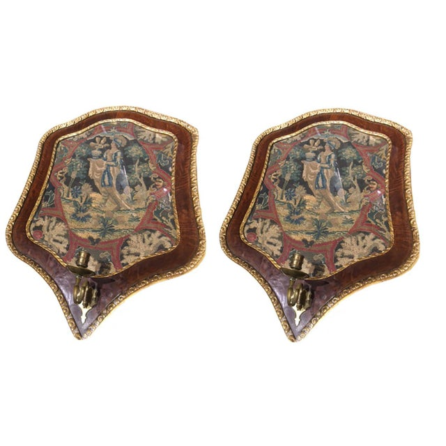 19th Century Needlepoint Wall Sconces - a Pair For Sale In Dallas - Image 6 of 6