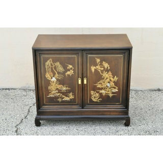 Vintage Oriental Chinese Ming Style 2 Door Hand Painted Cabinet Preview