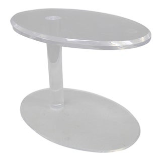 Mid Century Modern Clear Lucite Acrylic Oval Side Table For Sale
