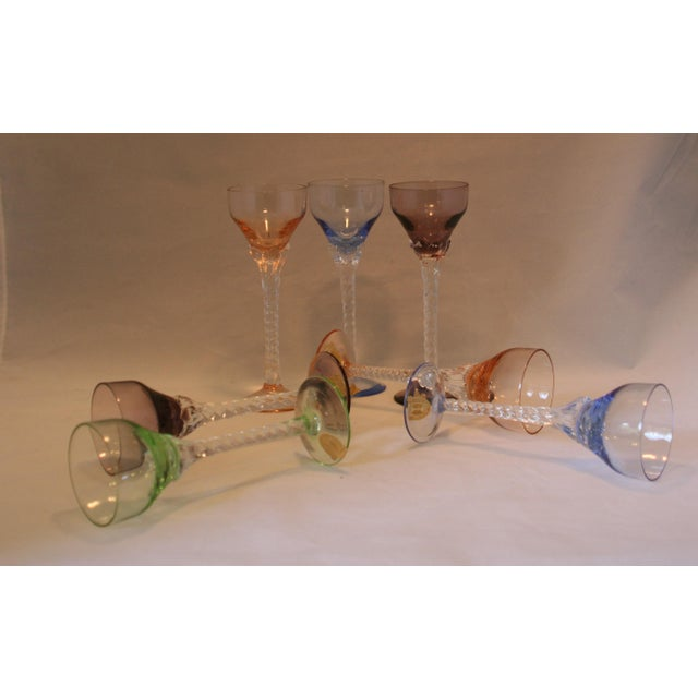 Set of 7 Blefeld Hand Crafted Crystal Multi Color Stemmed Cocktail Cordial Glasses For Sale - Image 4 of 7