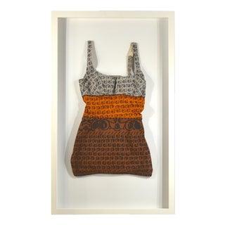 Framed Vintage Brown, Orange, & Gray Swim Suit For Sale