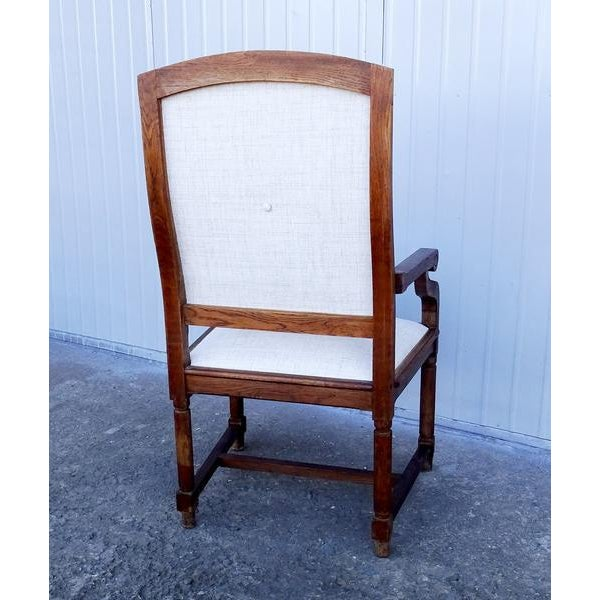 French Louis XIII Style Restored Reupholstered Walnut Throne Armchair For Sale - Image 4 of 9