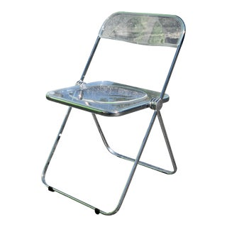 Mid Century Modern Castelli Italian Chrome and Lucite Folding Chair For Sale