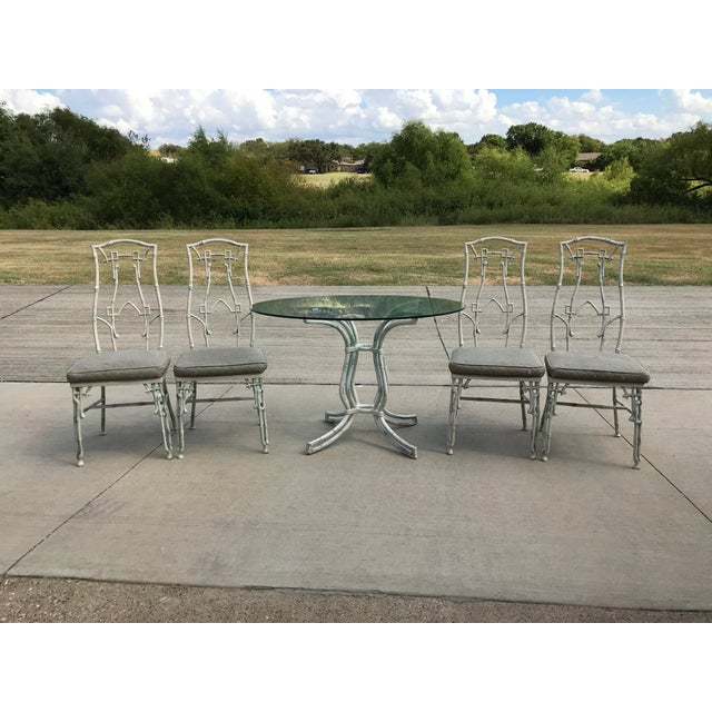 Kessler Industries 1960s Mid-Century Modern Kessler Industries Cast Aluminum Faux Bamboo Dining Set - 5 Piece Set For Sale - Image 4 of 12