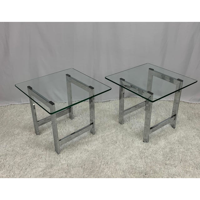 Mid 20th Century Milo Baughman Style Mid-Century Chrome and Glass Side End Tables -- a Pair For Sale - Image 5 of 9