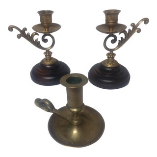 Traditional Metal Candleholders - Set of 3