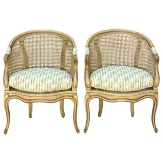 Pair of Painted Italian Barrel Form Caned Armchairs For Sale