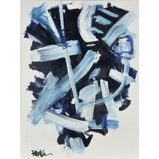 Abstract Navy and Blues Acrylic Painting by Robbie Kemper