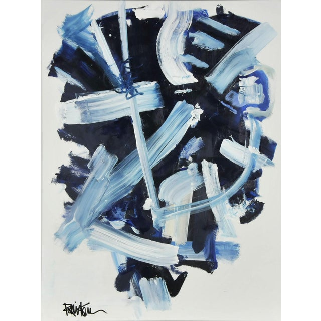 Abstract Navy and Blues Acrylic Painting by Robbie Kemper For Sale