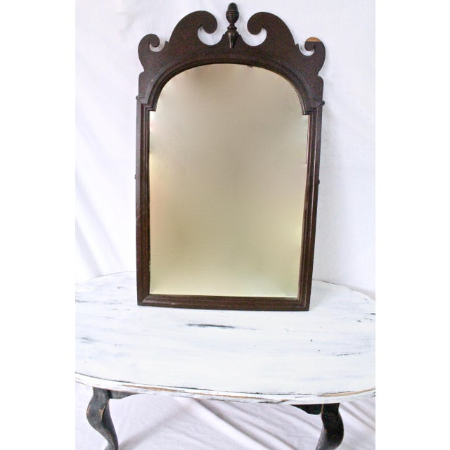 1940s Art Nouveau Acorn Finial Scroll Mirror For Sale - Image 9 of 9