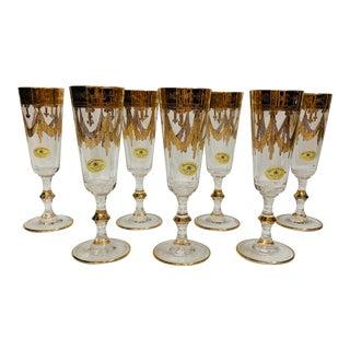 David Orgell Exclusivist 24 Kt Gold Leaf Champagne Flutes - Set of 7 For Sale