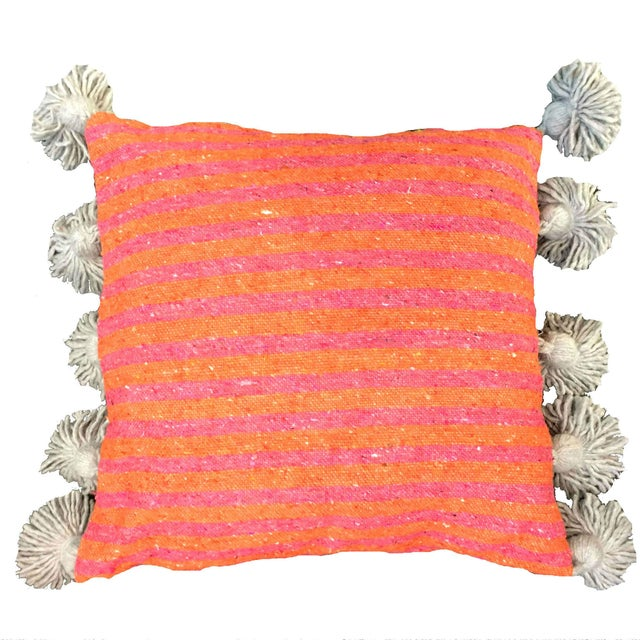 Islamic Coral & Blush Pompom Pillow Cover For Sale - Image 3 of 3