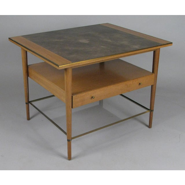 Paul McCobb 1950s Mahogany and Brass Table by Paul McCobb For Sale - Image 4 of 7