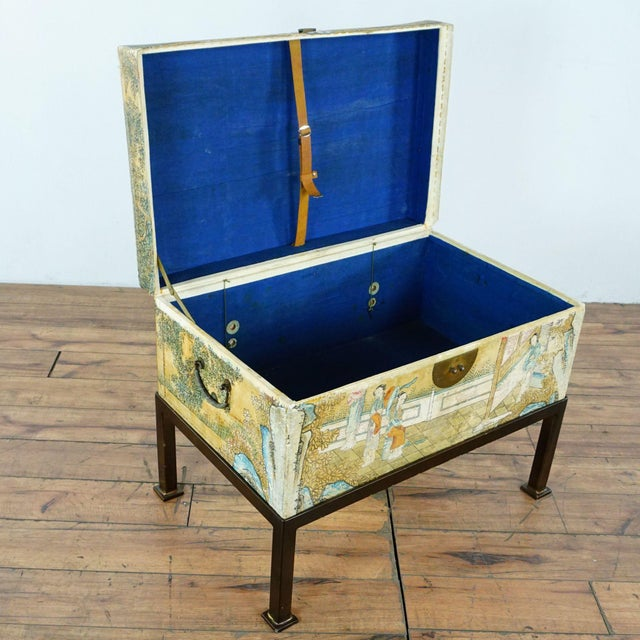 Antique Chinese Leather Trunk For Sale - Image 4 of 12