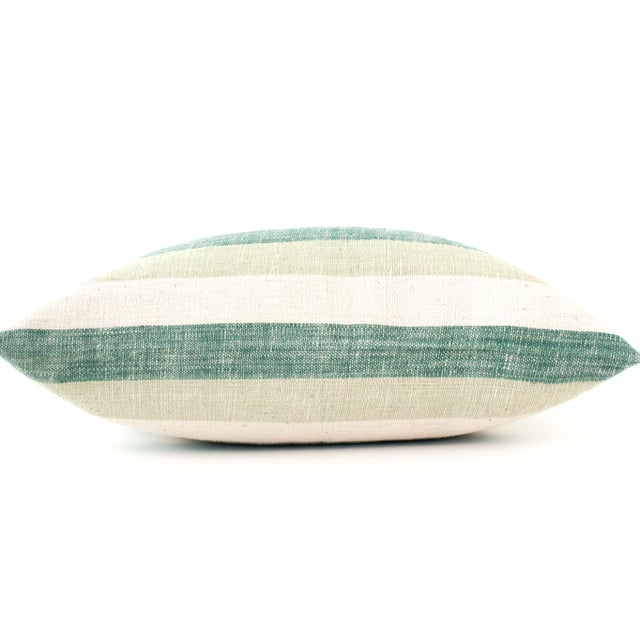 Blue & Green Striped Cotton Pillows - A Pair - Image 4 of 6