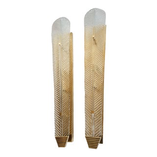 Very Tall Murano Clear Glass Leave Sconces, Mid Century Modern, by Barovier 1960s For Sale
