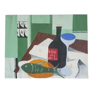 1940s Vintage Elfenbein Tablescape Still Life Painting For Sale