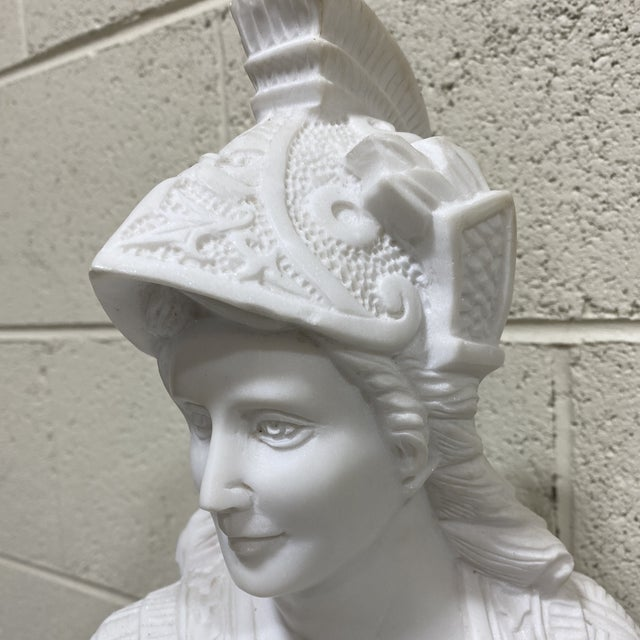 Off-white Greek Goddess Athena Marble Bust For Sale - Image 8 of 12