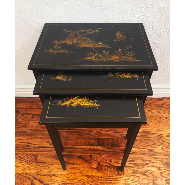 1940s Japanese Black Lacquer Nesting Tables With Hand Painting - Set of 3 For Sale - Image 13 of 13