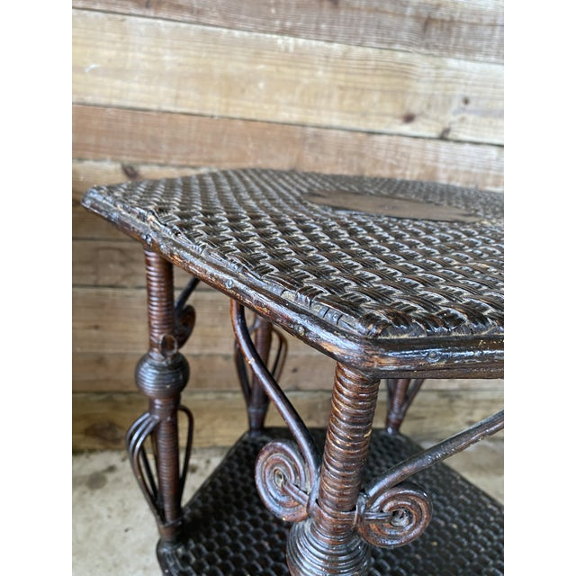 Antique Victorian Heywood Wakefield Wicker Fiddlehead Table For Sale - Image 9 of 13