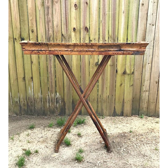 1970s Asian Modern Bamboo Tray Table With Folding Base For Sale - Image 6 of 9