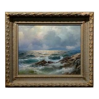 1951 California Coastal Scene Oil Painting For Sale