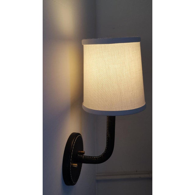 Paul Marra Top-Stitched Leather Wrapped Sconce in Black For Sale In Los Angeles - Image 6 of 12