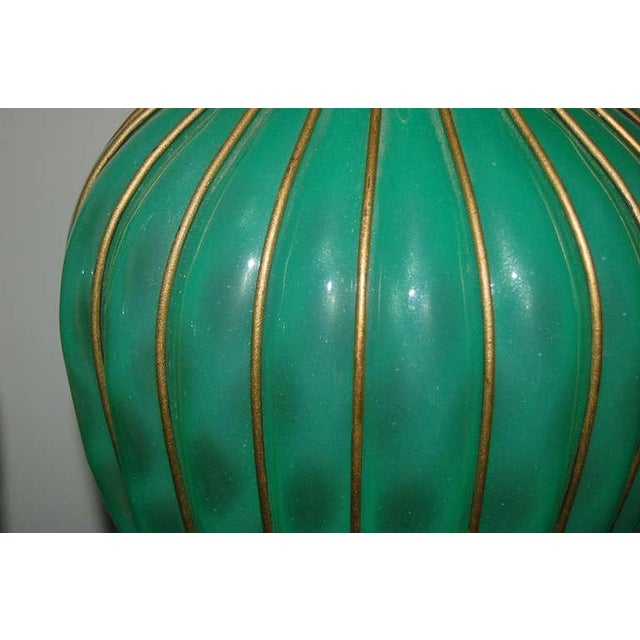 The Marbro Lamp Company Marbro Murano Opaline Glass Table Lamps Green For Sale - Image 4 of 9