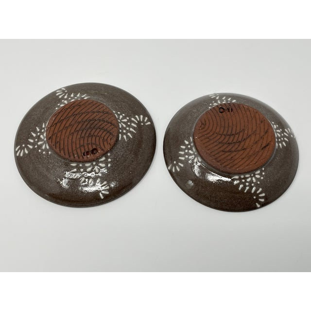 2000 - 2009 Hand Made Earthenware Lizella Clay Accent Soap Dish Small Accent Plates - a Pair For Sale - Image 5 of 7