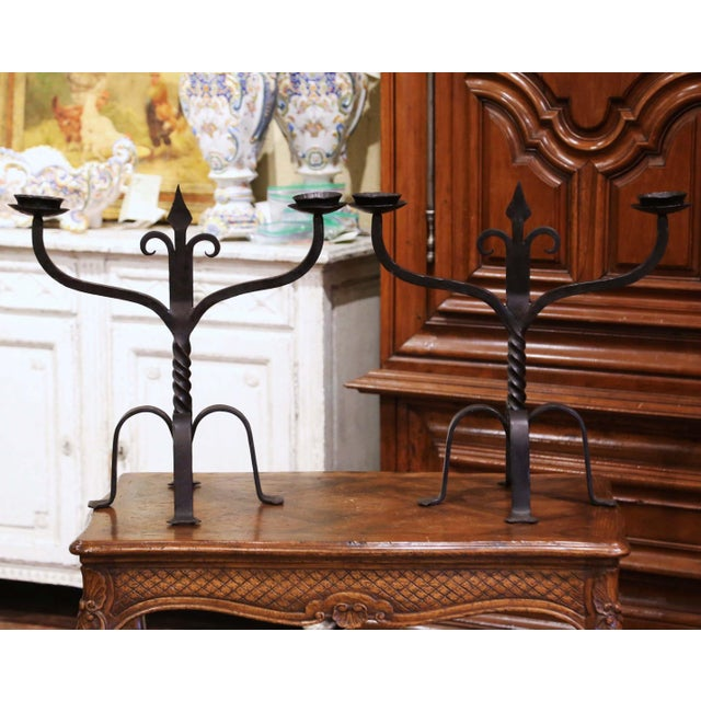 19th Century French Gothic Revival Wrought Iron Two-Arm Candelabras - a Pair For Sale - Image 11 of 11