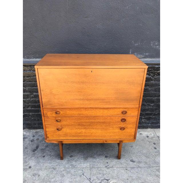 Swedish Modern Teak Wood Secretary Desk - Image 4 of 9