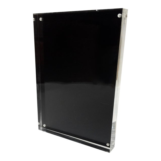 Black Metal & Lucite Standing Photo Frame - Image 1 of 4
