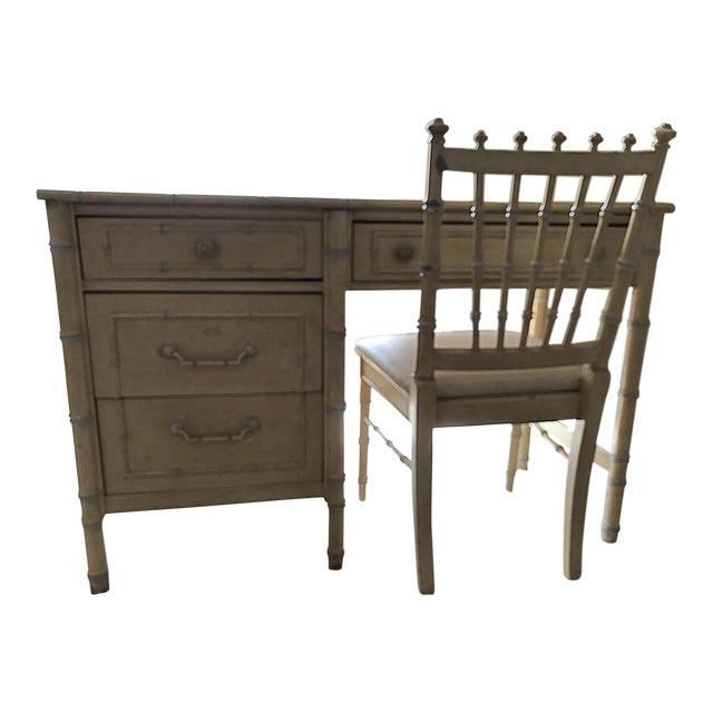 1960s Vintage Regency Thomasville Faux Bamboo Desk Set- 2 Pieces For Sale