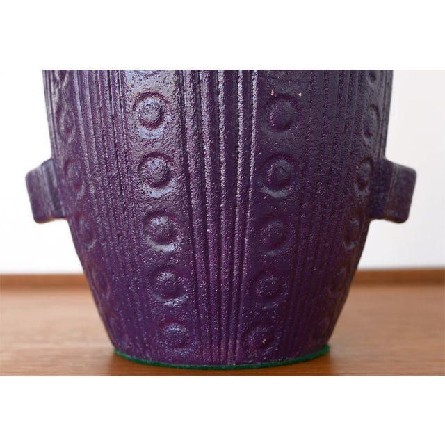 Mid Century Modern Purple Pottery Table Lamp For Sale In San Francisco - Image 6 of 13