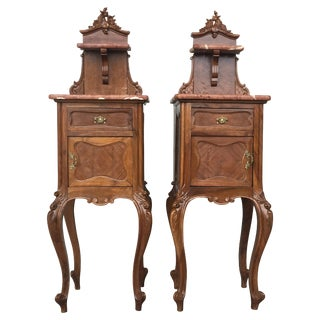 Tall and High Top Solid Oak Bedside Cabinets With Marble Top and Drawer For Sale