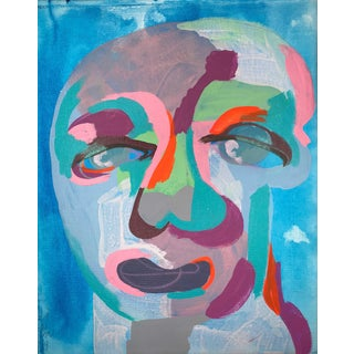 "Contemporary Abstract Portrait Painting ""All My Favorite Blues"" - Framed For Sale"