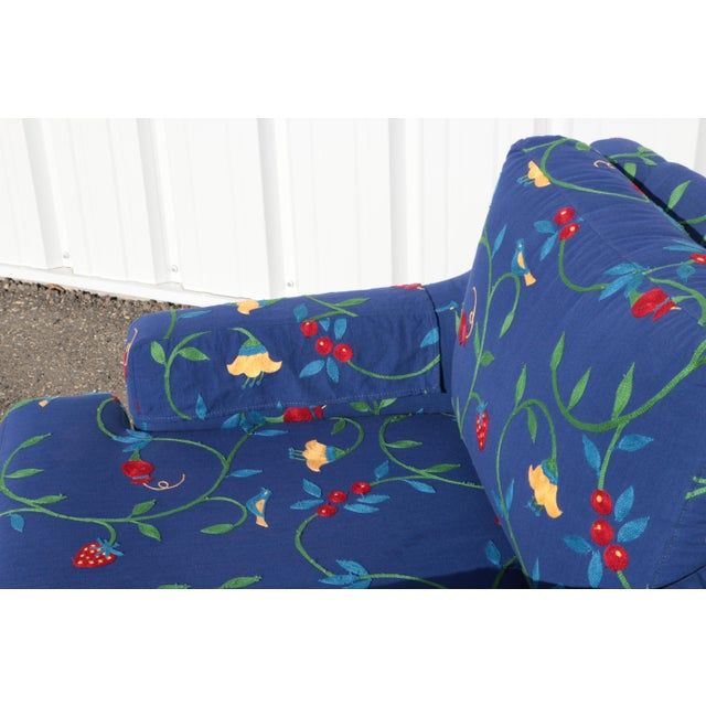 Crewel Embroidered Floral Strawberry Club Chairs - a Pair For Sale - Image 9 of 11
