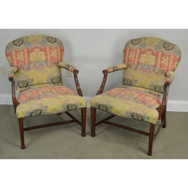 High Quality Fine Crafted Pair of Custom Upholstered Solid Mahogany Frame Armchairs by Smith & Watson