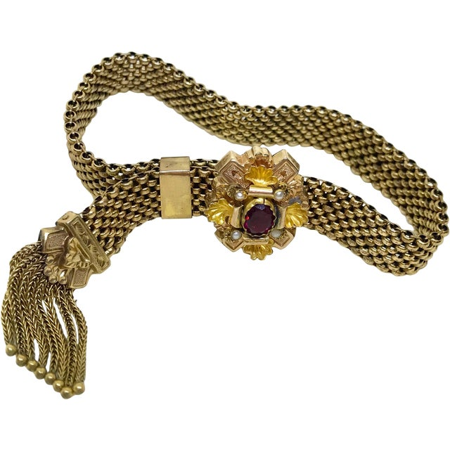 Victorian Garnet and Pearl Gold Filled Tassel Slide Bracelet For Sale