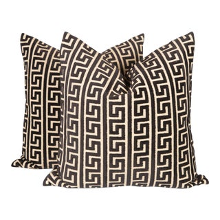 Black and Cream Cut Velvet Greek Key Pillows, a Pair For Sale