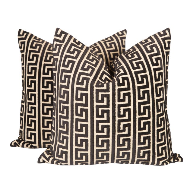 Black and Cream Cut Velvet Greek Key Pillows, a Pair For Sale
