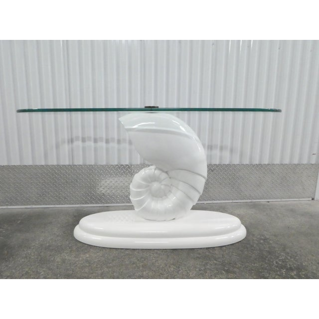 Chic 70's shell console table manner of Jean Michel Grank in vintage condition . Thanks for looking.