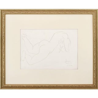 Vintage French Abstract Nude Pencil Drawing Paris 1951 For Sale