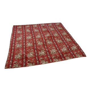 "French Red Printed Cotton Quilt - 59x59"" For Sale"