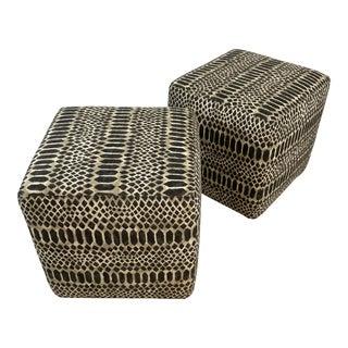 Cube Ottomans, a Pair For Sale