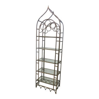 Gothic Faux Bamboo Metal Etagere For Sale
