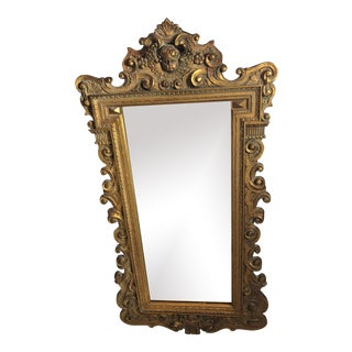 Antique French Regency Style Carved Giltwood Wall Mirror For Sale