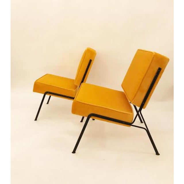 Mid-Century Modern Pierre Guariche Pair of Mid Century Slipper Chairs in Canary Yellow Velvet For Sale - Image 3 of 4