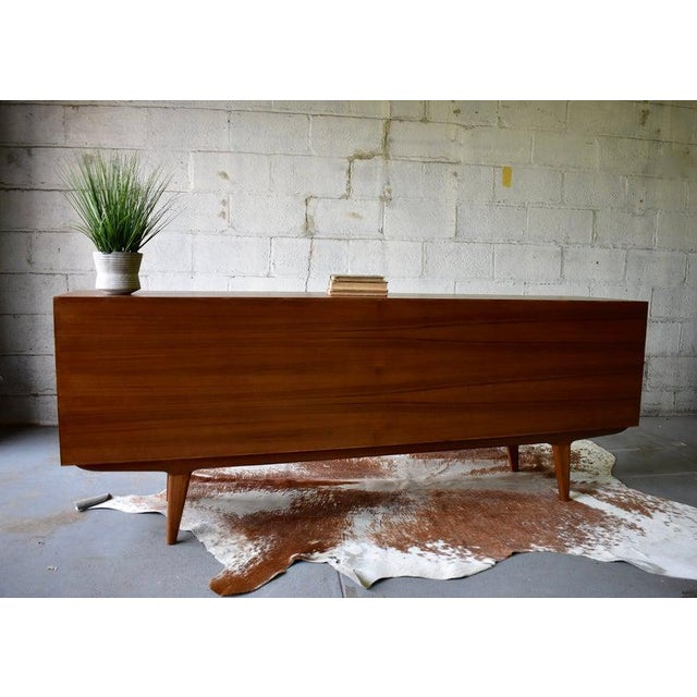 Extra Long Mid Century Modern Teak Sideboard / Credenza For Sale - Image 10 of 11